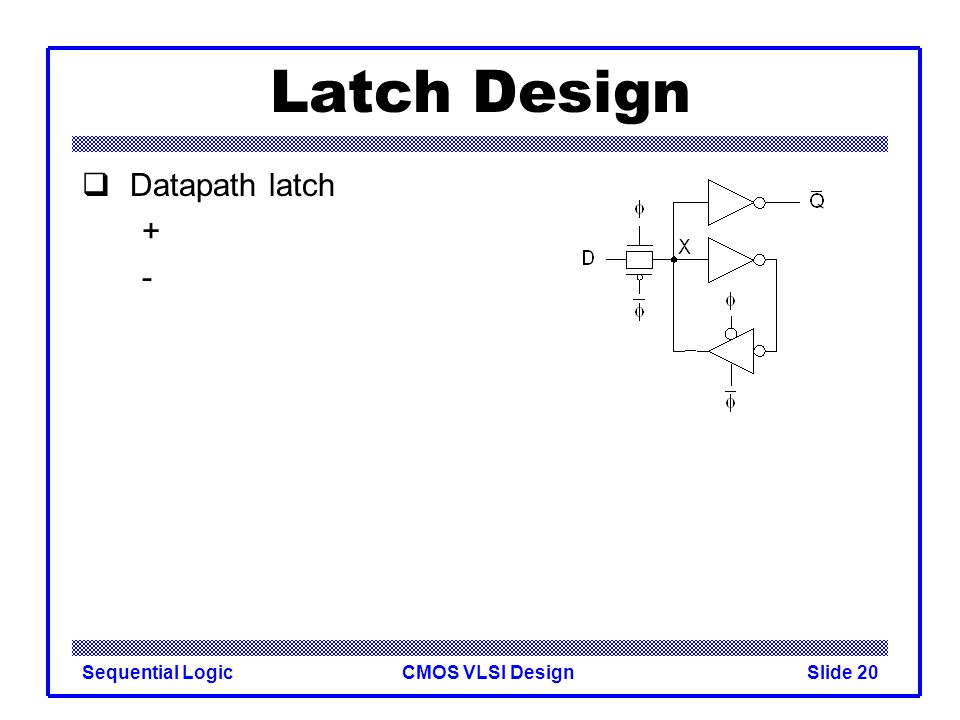 CMOS VLSI DesignSequential LogicSlide 20 Latch Design  Datapath latch + -
