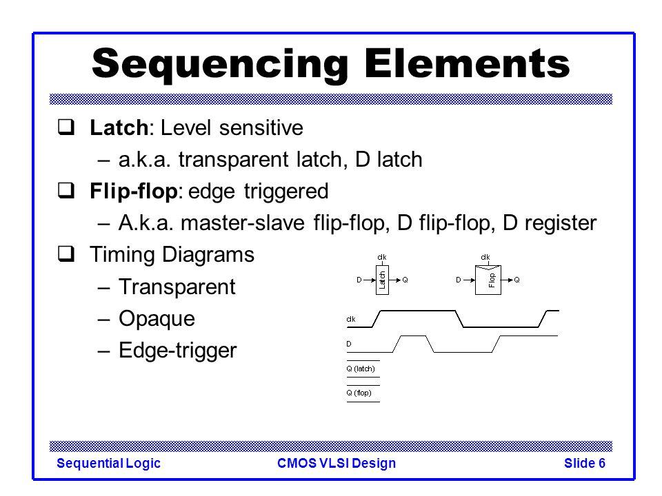 CMOS VLSI DesignSequential LogicSlide 6 Sequencing Elements  Latch: Level sensitive –a.k.a. transparent latch, D latch  Flip-flop: edge triggered –A