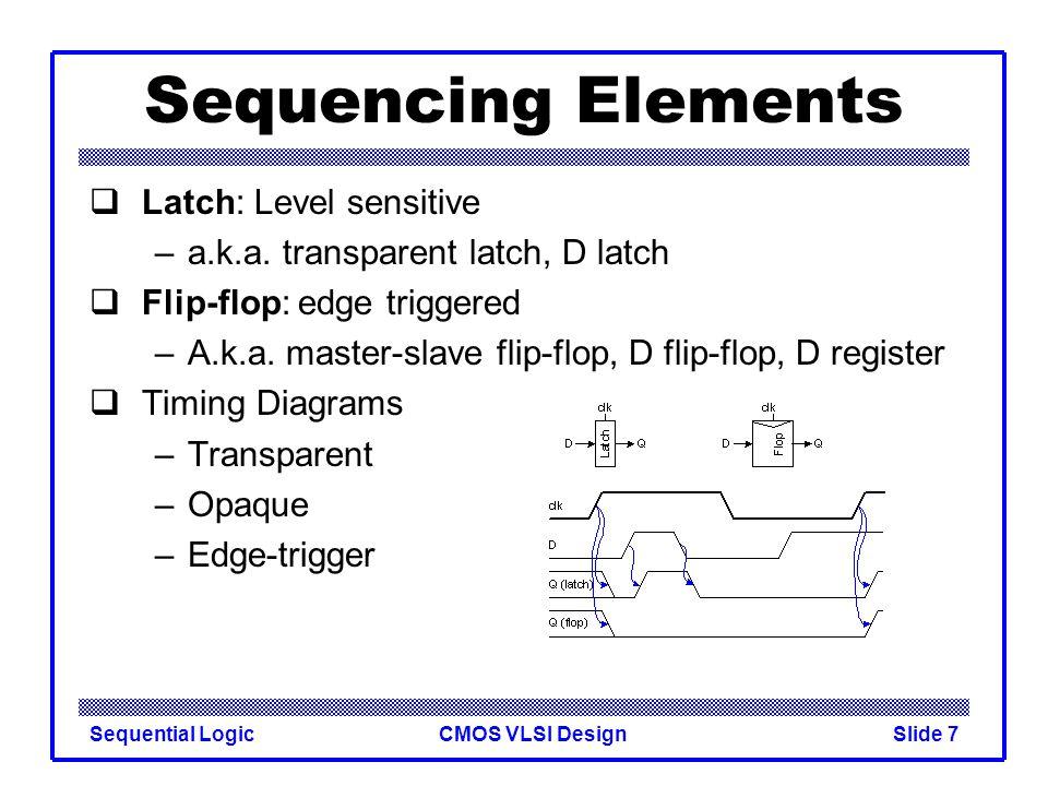 CMOS VLSI DesignSequential LogicSlide 7 Sequencing Elements  Latch: Level sensitive –a.k.a. transparent latch, D latch  Flip-flop: edge triggered –A