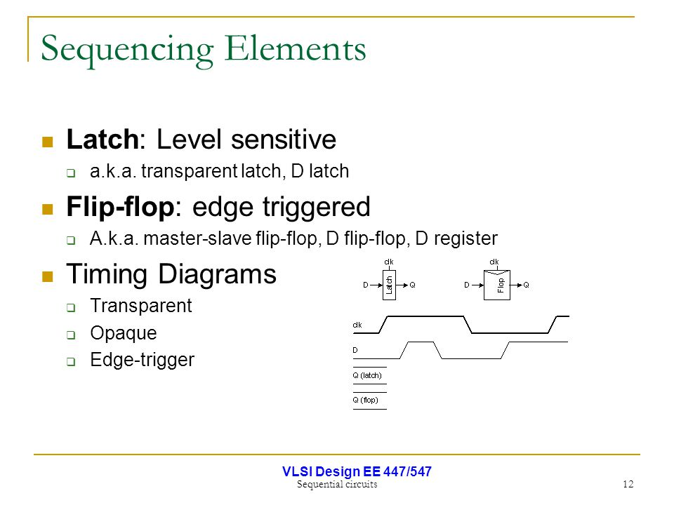 VLSI Design EE 447/547 Sequential circuits 12 Sequencing Elements Latch: Level sensitive  a.k.a. transparent latch, D latch Flip-flop: edge triggered