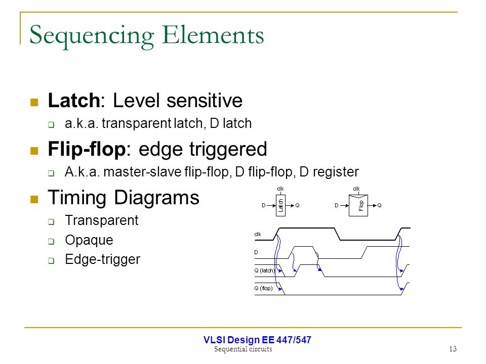 VLSI Design EE 447/547 Sequential circuits 13 Sequencing Elements Latch: Level sensitive  a.k.a. transparent latch, D latch Flip-flop: edge triggered