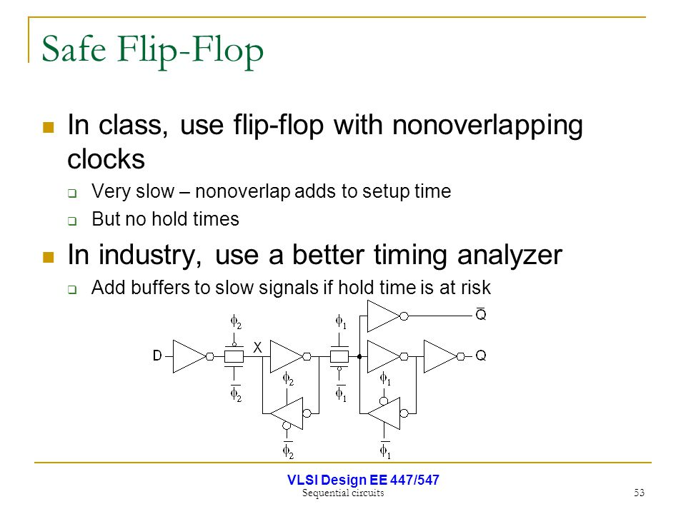 VLSI Design EE 447/547 Sequential circuits 53 Safe Flip-Flop In class, use flip-flop with nonoverlapping clocks  Very slow – nonoverlap adds to setup