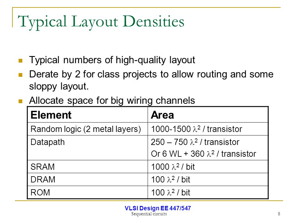 VLSI Design EE 447/547 Sequential circuits 8 Typical Layout Densities Typical numbers of high-quality layout Derate by 2 for class projects to allow r
