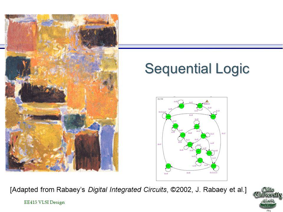 EE415 VLSI Design Characterizing Timing Register Latch Clk DQ t C2Q DQ t C2Q t D2Q