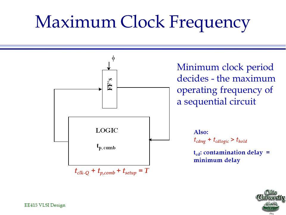 EE415 VLSI Design Maximum Clock Frequency Also: t cdreg + t cdlogic > t hold t cd : contamination delay = minimum delay t clk-Q + t p,comb + t setup = T Minimum clock period decides - the maximum operating frequency of a sequential circuit