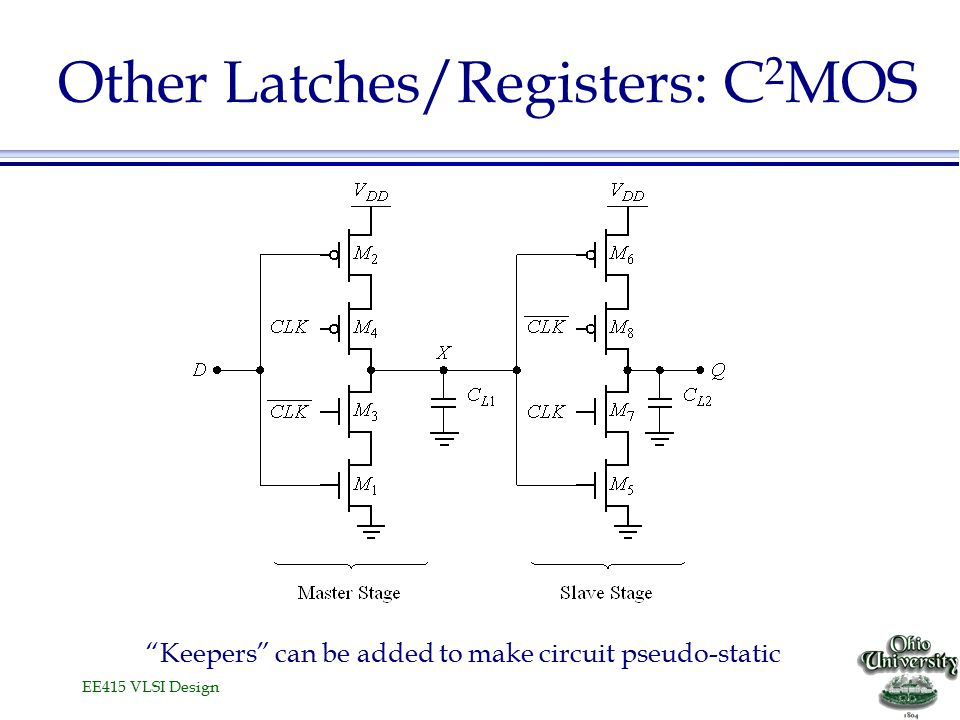 """EE415 VLSI Design Other Latches/Registers: C 2 MOS """"Keepers"""" can be added to make circuit pseudo-static"""