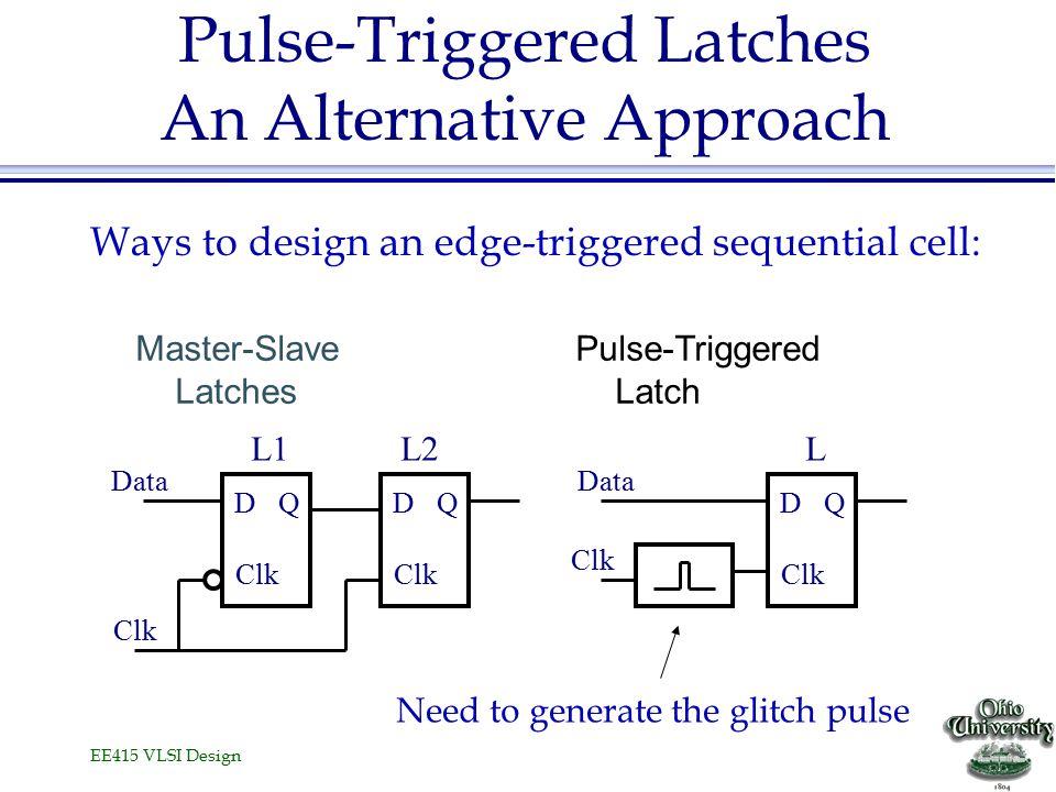 EE415 VLSI Design Pulse-Triggered Latches An Alternative Approach Master-Slave Latches D Clk QD Q Data D Clk Q Data Pulse-Triggered Latch L1L2L Ways t