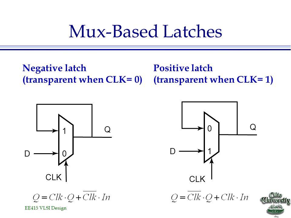 EE415 VLSI Design Mux-Based Latches Negative latch (transparent when CLK= 0) Positive latch (transparent when CLK= 1) CLK 1 0D Q 0 1D Q