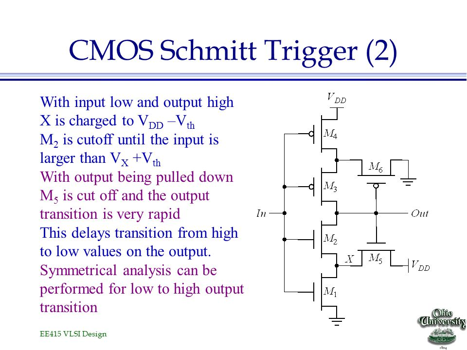 EE415 VLSI Design CMOS Schmitt Trigger (2) With input low and output high X is charged to V DD –V th M 2 is cutoff until the input is larger than V X +V th With output being pulled down M 5 is cut off and the output transition is very rapid This delays transition from high to low values on the output.