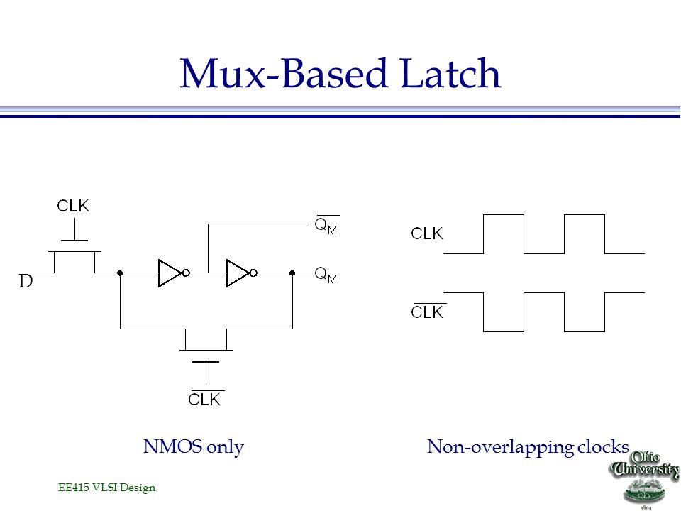 EE415 VLSI Design Latch versus Register  Latch stores data when clock is low D Clk Q D Q l Register stores data when clock rises Clk D D QQ Falls with dataFalls with clock