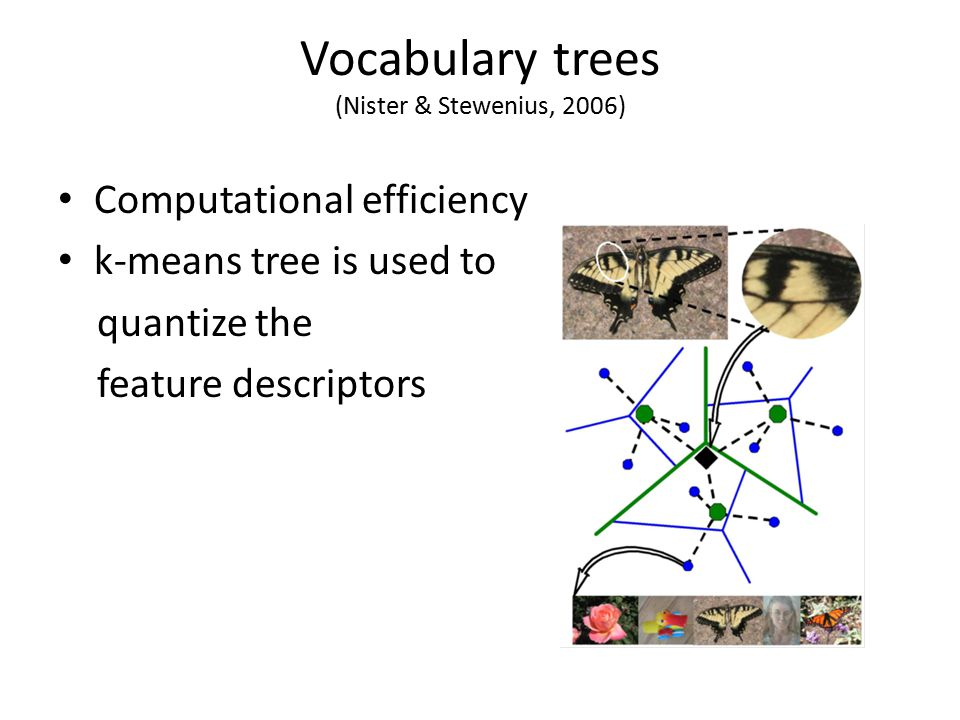 Vocabulary trees (Nister & Stewenius, 2006) Computational efficiency k-means tree is used to quantize the feature descriptors