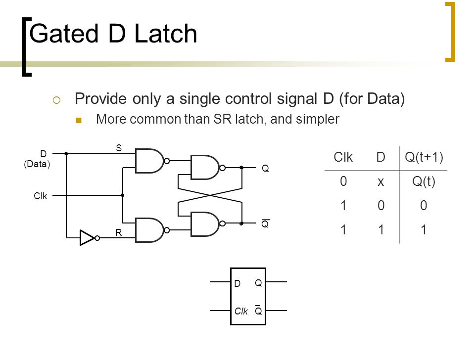 Gated D Latch  Provide only a single control signal D (for Data) More common than SR latch, and simpler Q S R Clk D (Data) Q ClkDQ(t+1) 0xQ(t) 100 11