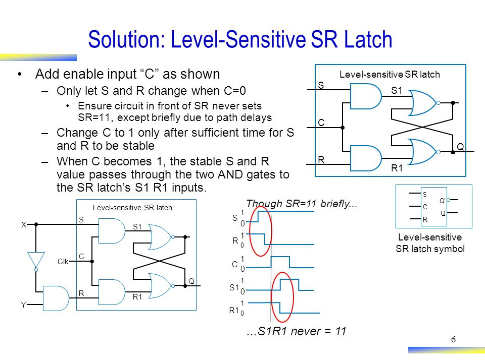 6 Solution: Level-Sensitive SR Latch Add enable input C as shown –Only let S and R change when C=0 Ensure circuit in front of SR never sets SR=11, except briefly due to path delays –Change C to 1 only after sufficient time for S and R to be stable –When C becomes 1, the stable S and R value passes through the two AND gates to the SR latch's S1 R1 inputs.