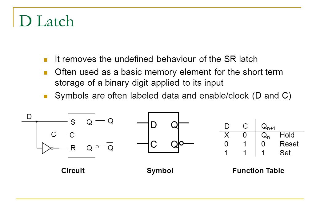D Latch It removes the undefined behaviour of the SR latch Often used as a basic memory element for the short term storage of a binary digit applied to its input Symbols are often labeled data and enable/clock (D and C) DCQ n+1 X0Q n Hold 010Reset 111Set Circuit D C Q Q SymbolFunction Table S R Q Q Q Q C C D