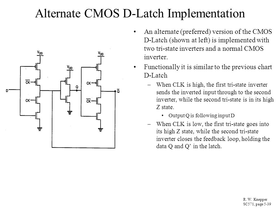 Alternate CMOS D-Latch Implementation An alternate (preferred) version of the CMOS D-Latch (shown at left) is implemented with two tri-state inverters