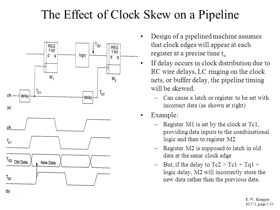 The Effect of Clock Skew on a Pipeline Design of a pipelined machine assumes that clock edges will appear at each register at a precise time t o If de
