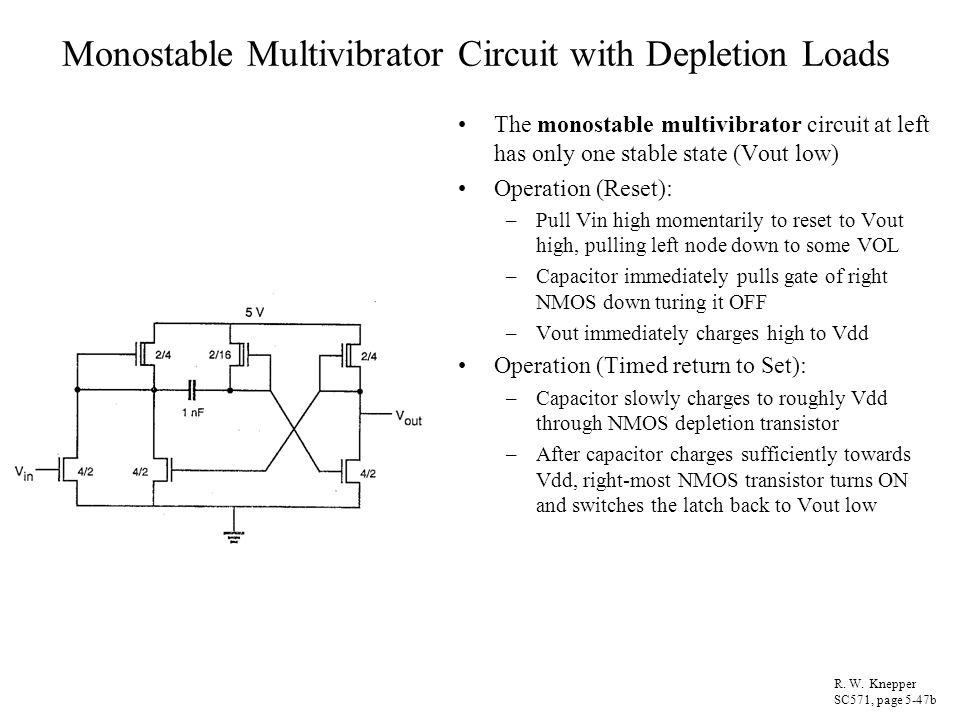 Monostable Multivibrator Circuit with Depletion Loads The monostable multivibrator circuit at left has only one stable state (Vout low) Operation (Res