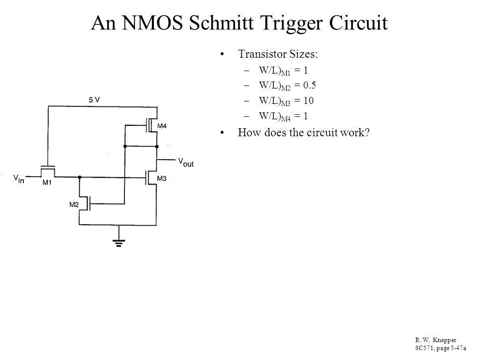 An NMOS Schmitt Trigger Circuit Transistor Sizes: –W/L) M1 = 1 –W/L) M2 = 0.5 –W/L) M3 = 10 –W/L) M4 = 1 How does the circuit work? R. W. Knepper SC57