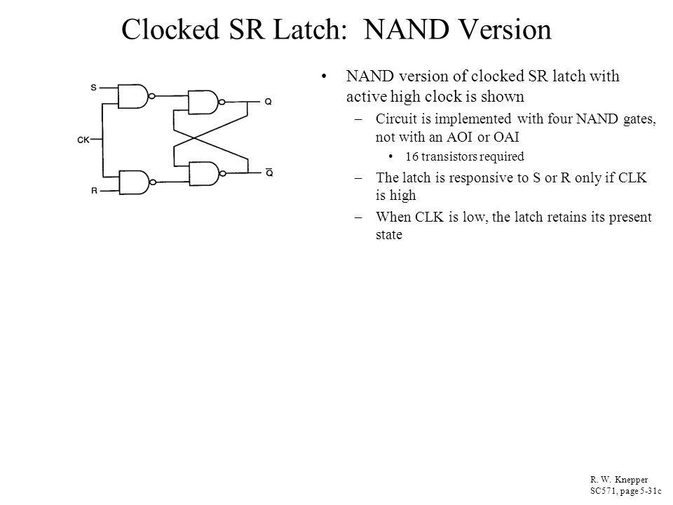 Clocked SR Latch: NAND Version NAND version of clocked SR latch with active high clock is shown –Circuit is implemented with four NAND gates, not with
