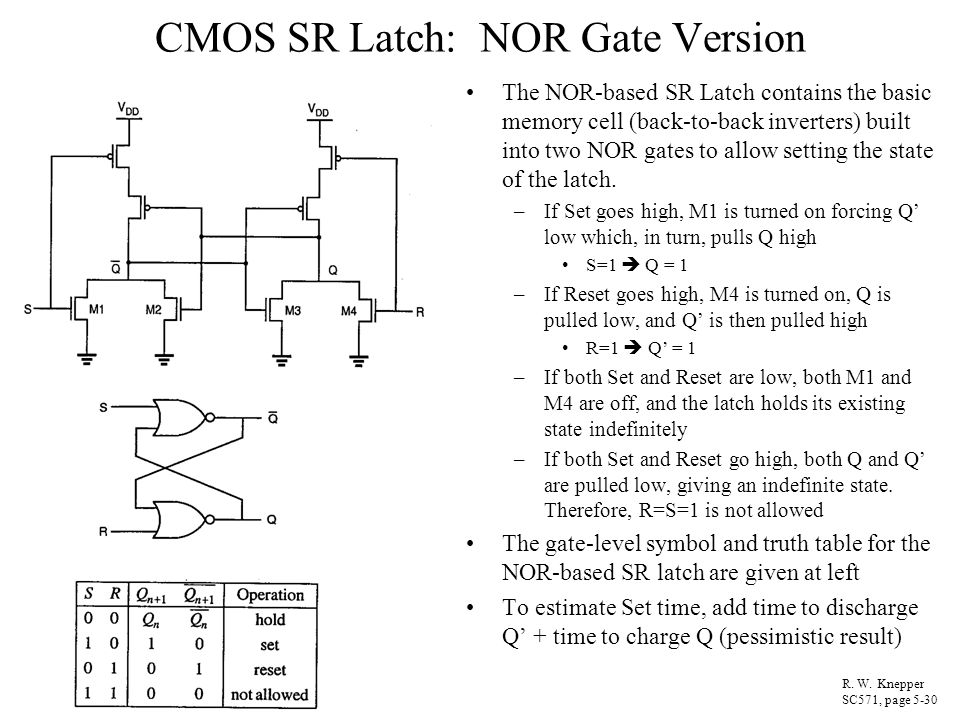 CMOS SR Latch: NOR Gate Version The NOR-based SR Latch contains the basic memory cell (back-to-back inverters) built into two NOR gates to allow setti