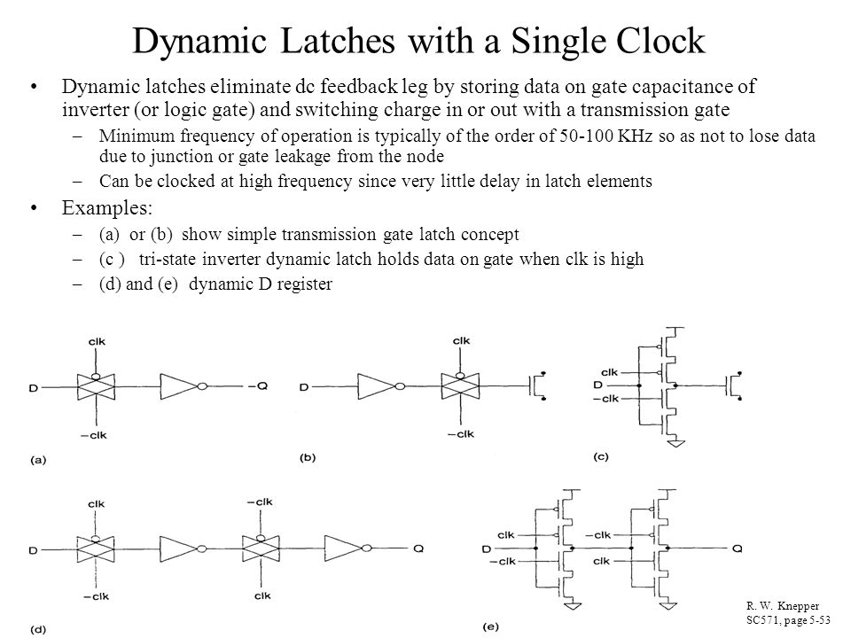 Dynamic Latches with a Single Clock Dynamic latches eliminate dc feedback leg by storing data on gate capacitance of inverter (or logic gate) and swit