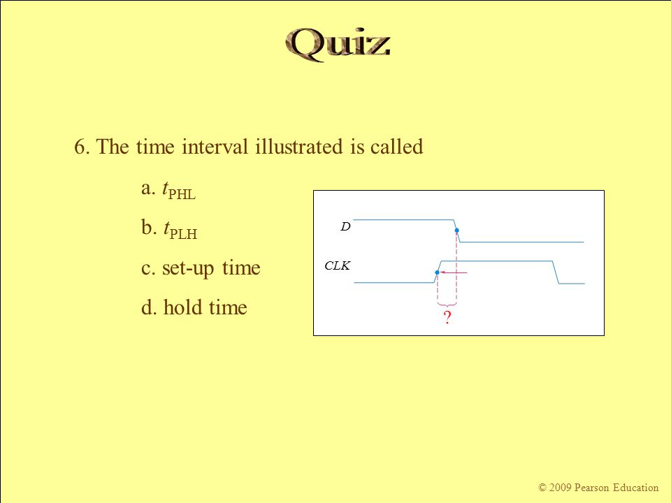 © 2009 Pearson Education CLK D . 6. The time interval illustrated is called a.