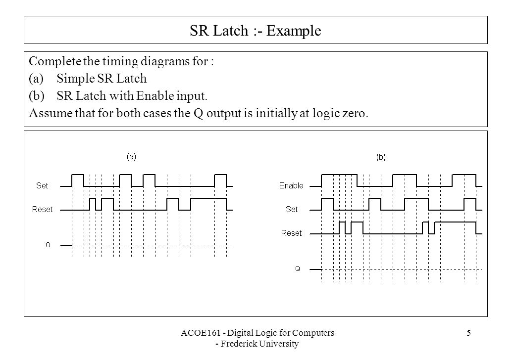 ACOE161 - Digital Logic for Computers - Frederick University 5 SR Latch :- Example Complete the timing diagrams for : (a)Simple SR Latch (b)SR Latch with Enable input.
