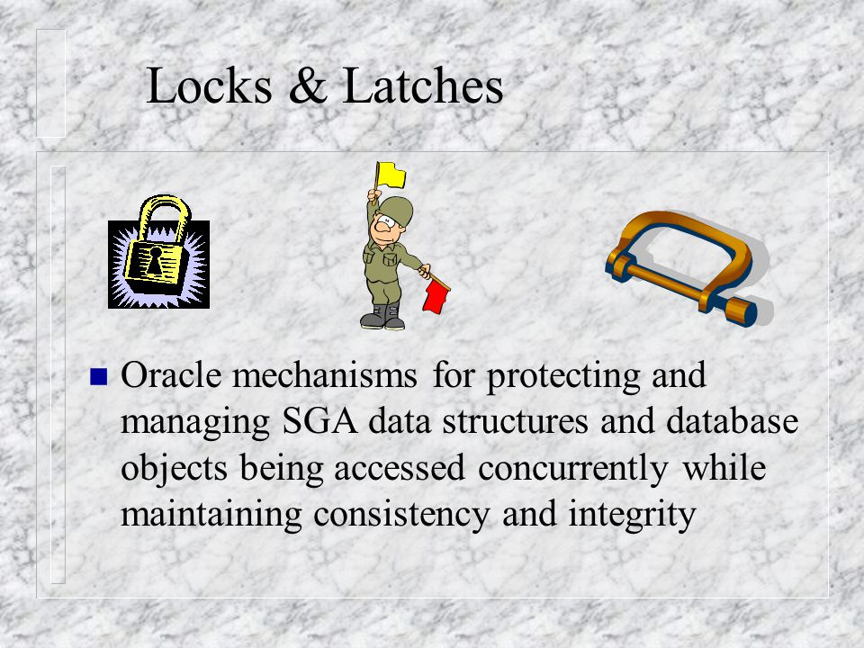 Example: Locked Users n If locking conflict are suspected, locked users and the statement they are running can be identified by the following query: select b.username, b.serial#, d.id1, a.sql_text from v$session b, v$lock d, v$sqltext a where b.lockwait = d.kaddr and a.address = b.sql_address and a.hash_value = b.sql_hash_value