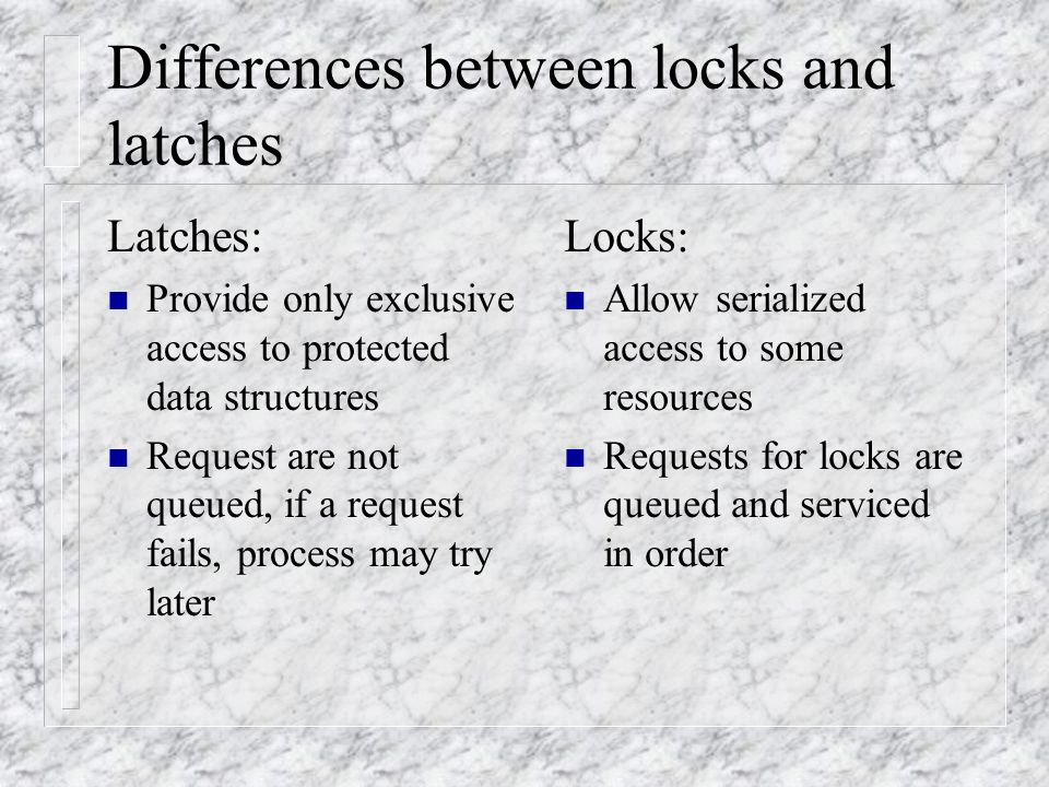 Tuning LRU latch Goal: n Reduce cache buffer LRU latch contention Achieved by: n Having enough latches for the entire buffer cache.