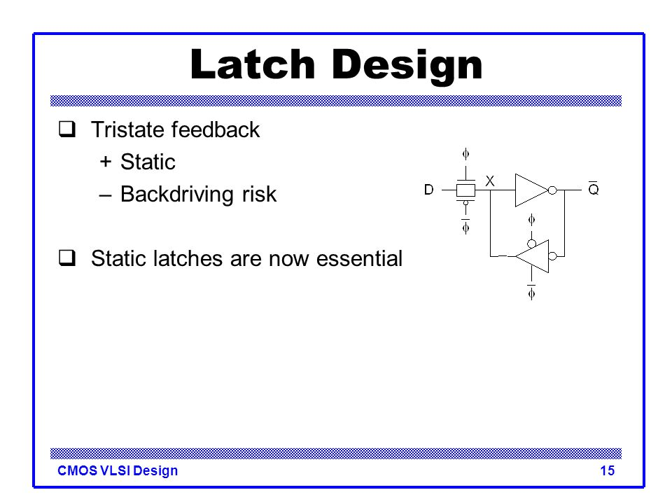 CMOS VLSI Design15 Latch Design  Tristate feedback +Static –Backdriving risk  Static latches are now essential