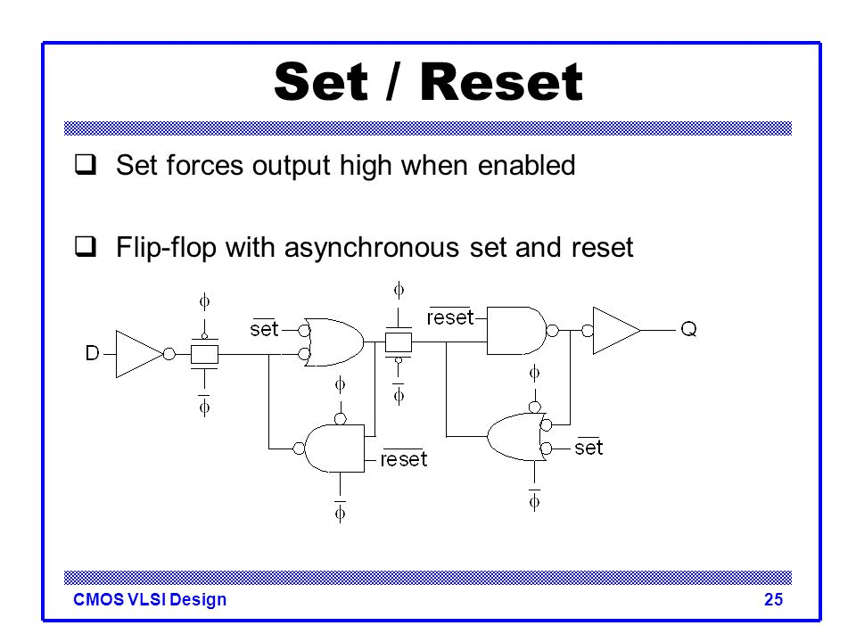 CMOS VLSI Design25 Set / Reset  Set forces output high when enabled  Flip-flop with asynchronous set and reset