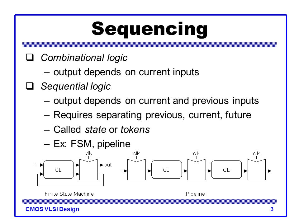 CMOS VLSI Design3 Sequencing  Combinational logic –output depends on current inputs  Sequential logic –output depends on current and previous inputs
