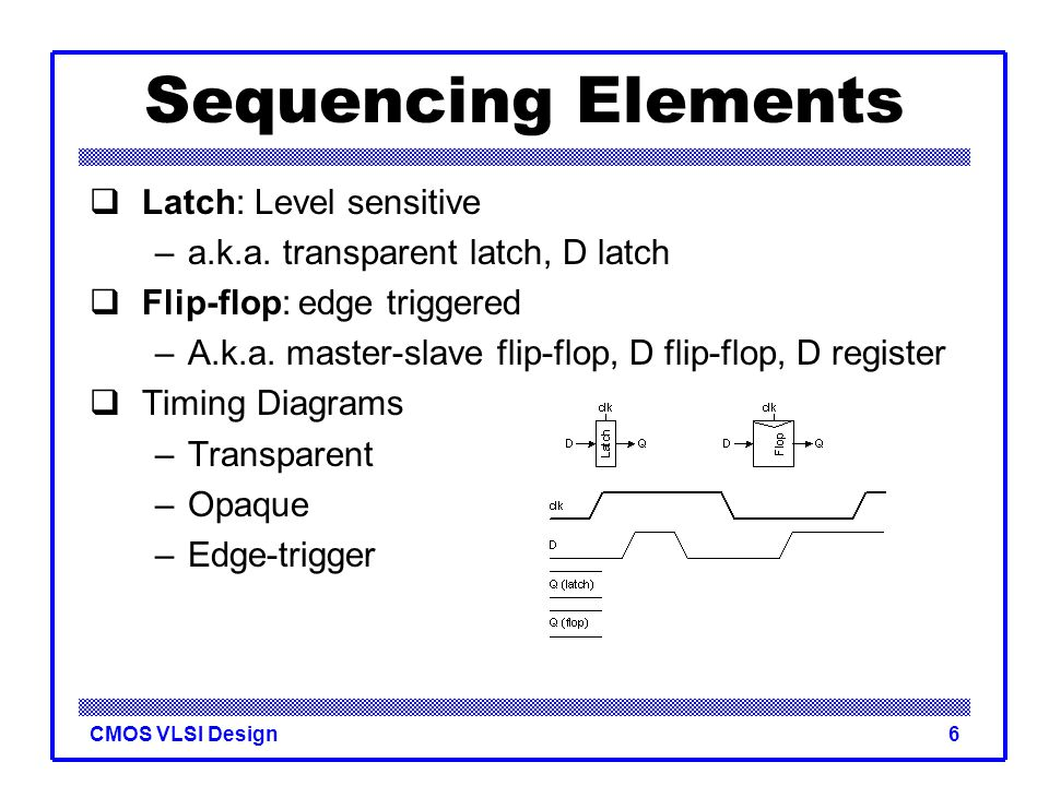 CMOS VLSI Design6 Sequencing Elements  Latch: Level sensitive –a.k.a. transparent latch, D latch  Flip-flop: edge triggered –A.k.a. master-slave fli