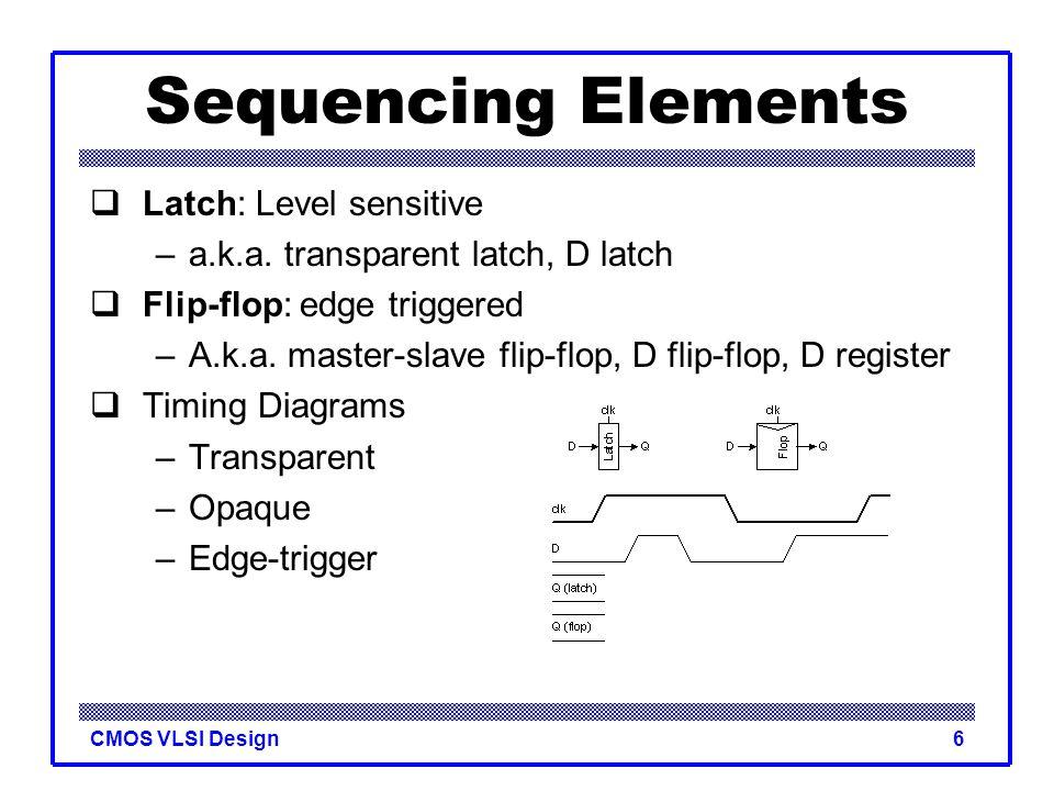 CMOS VLSI Design7 Sequencing Elements  Latch: Level sensitive –a.k.a.