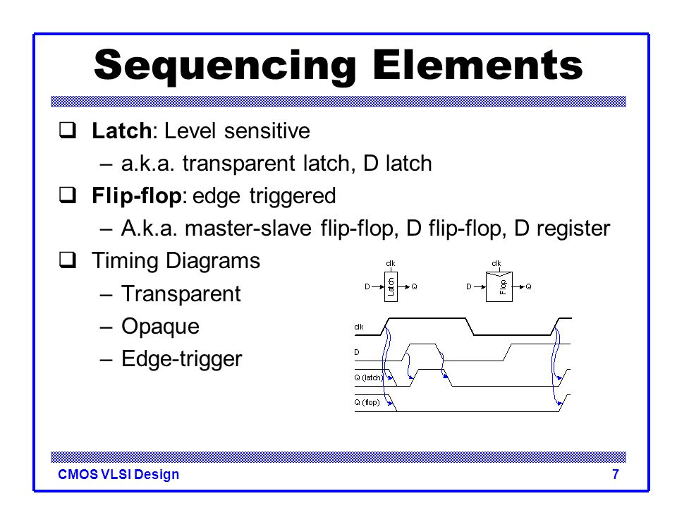 CMOS VLSI Design7 Sequencing Elements  Latch: Level sensitive –a.k.a. transparent latch, D latch  Flip-flop: edge triggered –A.k.a. master-slave fli