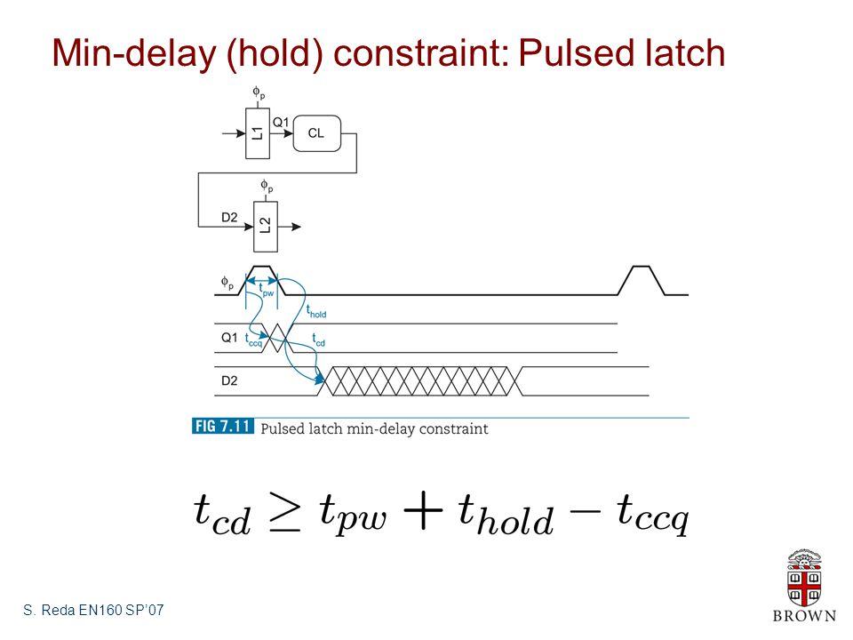 S. Reda EN160 SP'07 Min-delay (hold) constraint: Pulsed latch