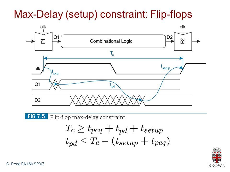 S. Reda EN160 SP'07 Max-Delay (setup) constraint: Flip-flops