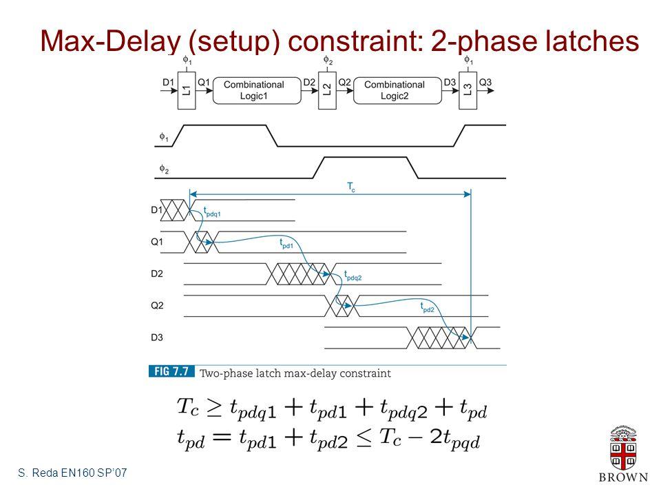 S. Reda EN160 SP'07 Max-Delay (setup) constraint: 2-phase latches