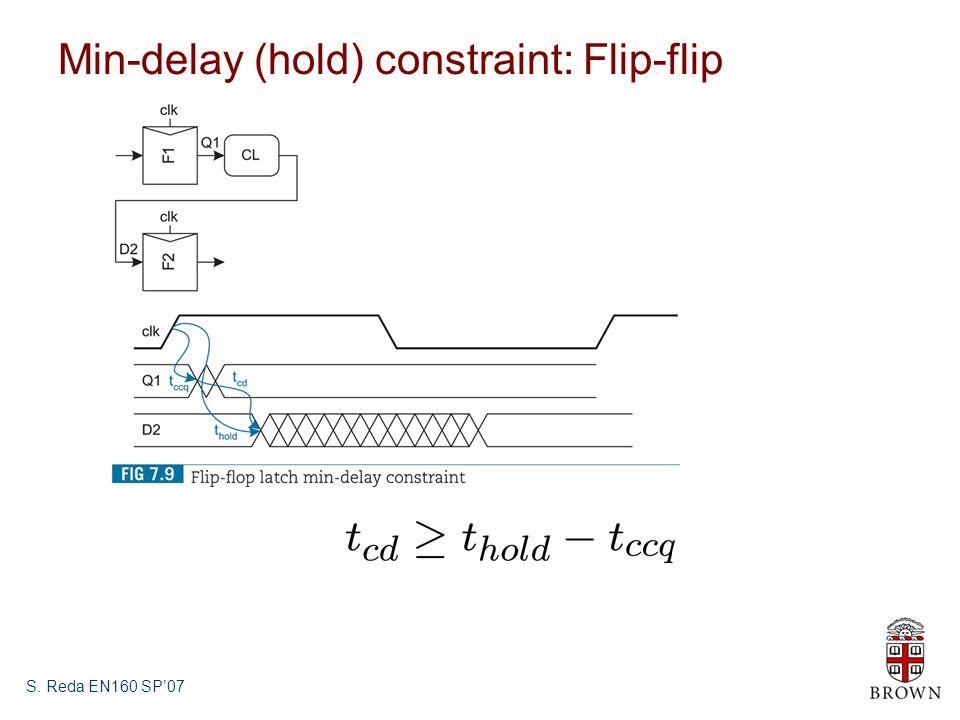 S. Reda EN160 SP'07 Min-delay (hold) constraint: Flip-flip
