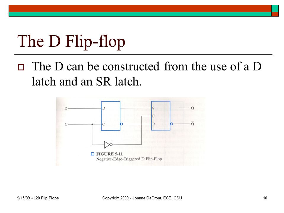 The D Flip-flop  The D can be constructed from the use of a D latch and an SR latch.