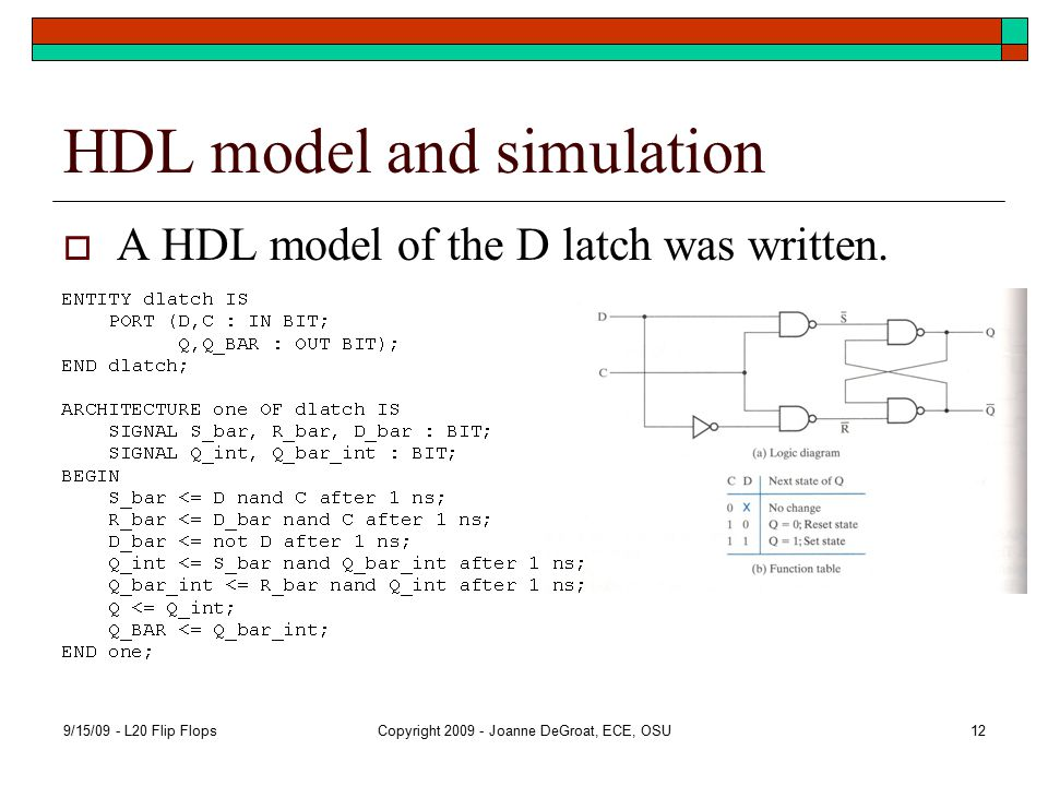 HDL model and simulation  A HDL model of the D latch was written.