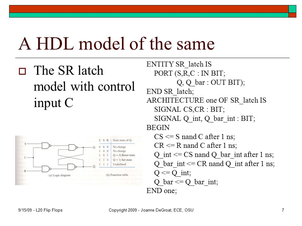A HDL model of the same  The SR latch model with control input C 9/15/09 - L20 Flip FlopsCopyright 2009 - Joanne DeGroat, ECE, OSU7 ENTITY SR_latch IS PORT (S,R,C : IN BIT; Q, Q_bar : OUT BIT); END SR_latch; ARCHITECTURE one OF SR_latch IS SIGNAL CS,CR : BIT; SIGNAL Q_int, Q_bar_int : BIT; BEGIN CS <= S nand C after 1 ns; CR <= R nand C after 1 ns; Q_int <= CS nand Q_bar_int after 1 ns; Q_bar_int <= CR nand Q_int after 1 ns; Q <= Q_int; Q_bar <= Q_bar_int; END one;