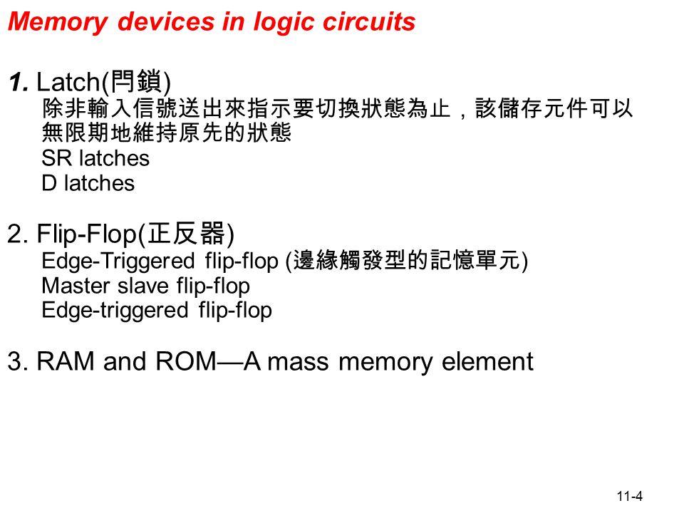 11-15 Figure 11.13 D Flip-Flops D Flip-Flop(FF) 1.D-Latch 和 D Flip-Flop 皆為僅有一輸入端 (D) 的雙穩態記憶電路 (Q,Q') ,常用在資料儲存 與暫存器的使用。兩種元件都能將 D 之輸入端直接傳送到記憶體的輸出,但傳送的方式 不同 : a.