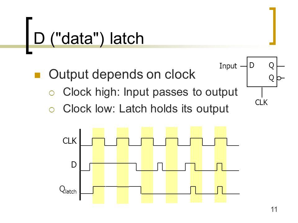 11 D ( data ) latch Output depends on clock  Clock high: Input passes to output  Clock low: Latch holds its output DQ Q CLK Input CLK D Q latch