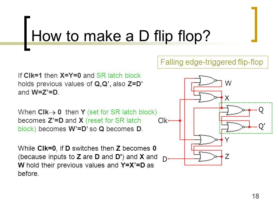 18 How to make a D flip flop.