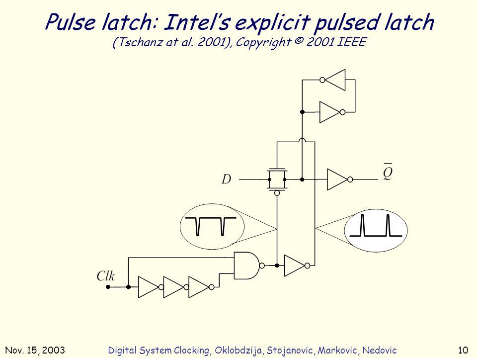 Nov. 15, 2003Digital System Clocking, Oklobdzija, Stojanovic, Markovic, Nedovic10 Pulse latch: Intel's explicit pulsed latch (Tschanz at al. 2001), Co