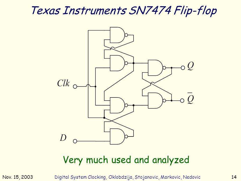 Nov. 15, 2003Digital System Clocking, Oklobdzija, Stojanovic, Markovic, Nedovic14 Texas Instruments SN7474 Flip-flop Very much used and analyzed
