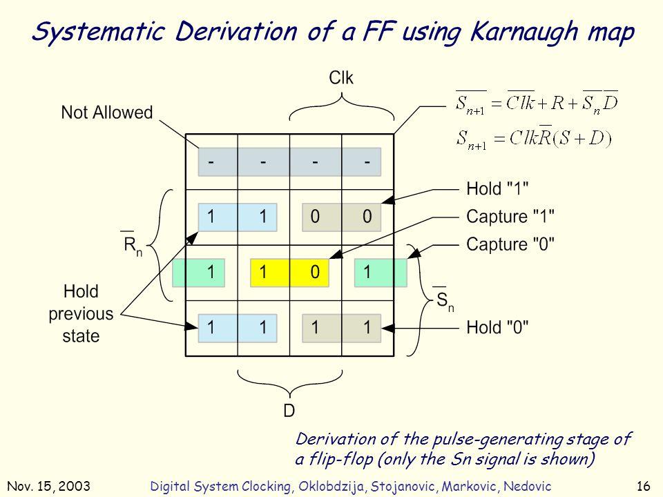 Nov. 15, 2003Digital System Clocking, Oklobdzija, Stojanovic, Markovic, Nedovic16 Systematic Derivation of a FF using Karnaugh map Derivation of the p