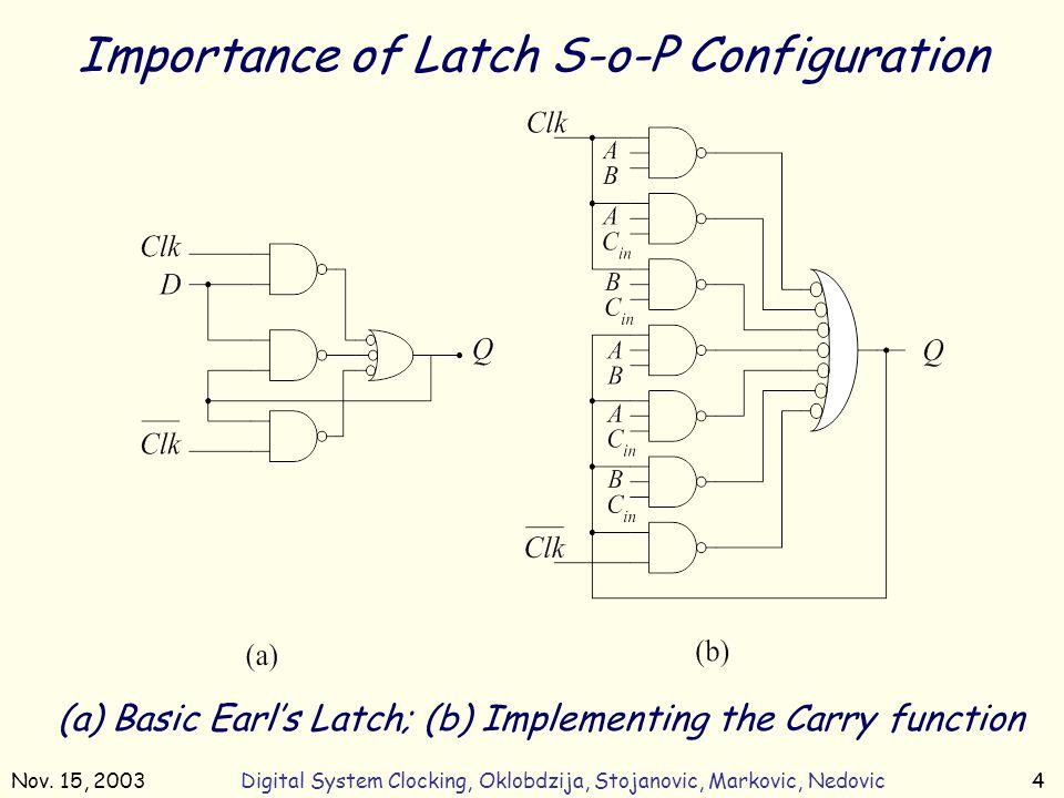 Nov. 15, 2003Digital System Clocking, Oklobdzija, Stojanovic, Markovic, Nedovic4 (a) Basic Earl's Latch; (b) Implementing the Carry function Importanc