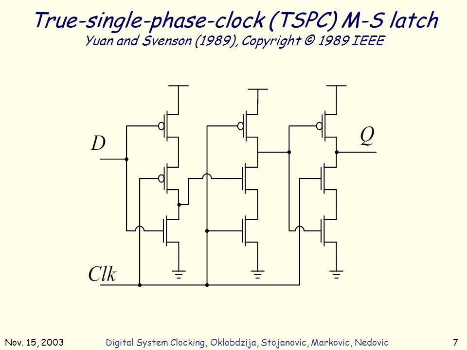 Nov. 15, 2003Digital System Clocking, Oklobdzija, Stojanovic, Markovic, Nedovic7 True-single-phase-clock (TSPC) M-S latch Yuan and Svenson (1989), Cop